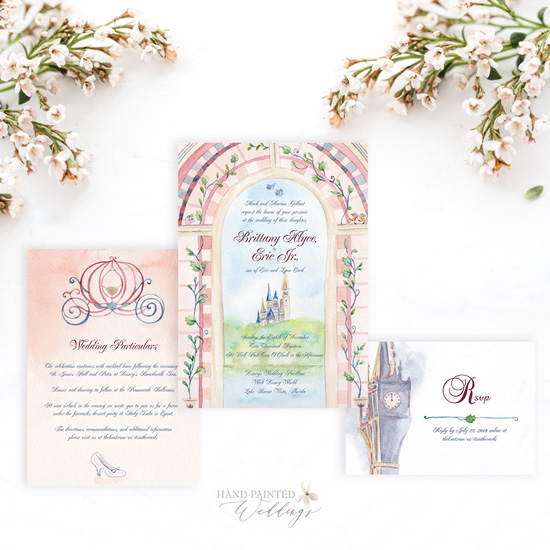 Cinderella Inspired Disney World Wedding Invitation Suite