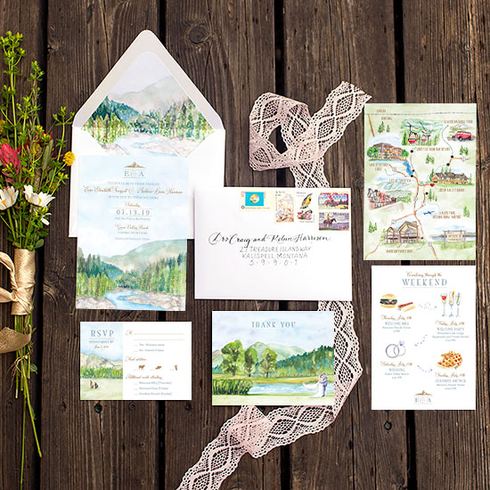Green Valley Ranch Montana Wedding Invitation