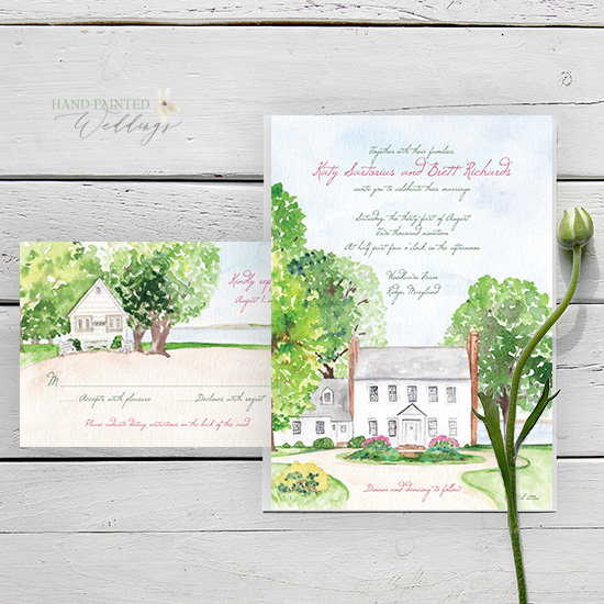 Woodland Farms Maryland watercolor wedding invitation