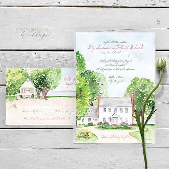 Woodland Farms Maryland watercolor wedding invitation