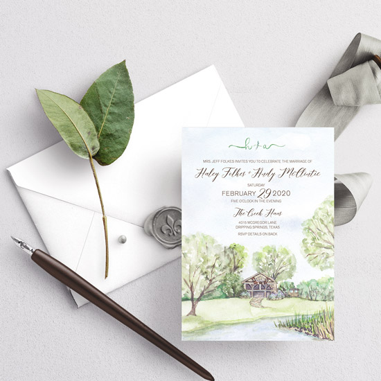 The Creek Haus Texas Wedding Invitation
