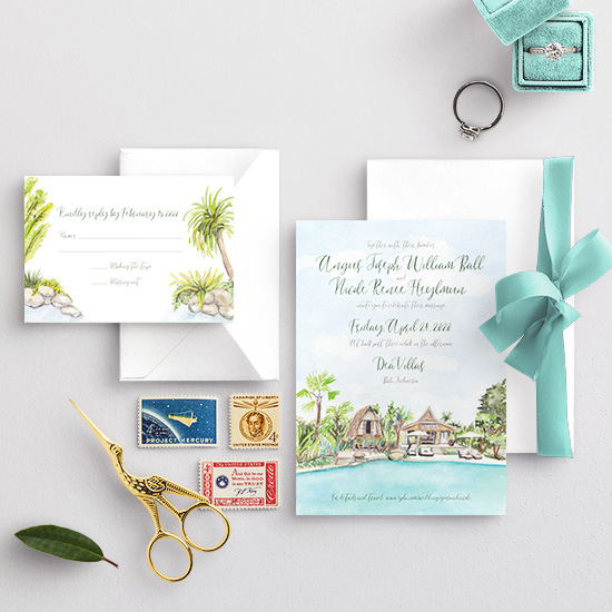 Dea Villas Bali Indonesia Wedding Invitation