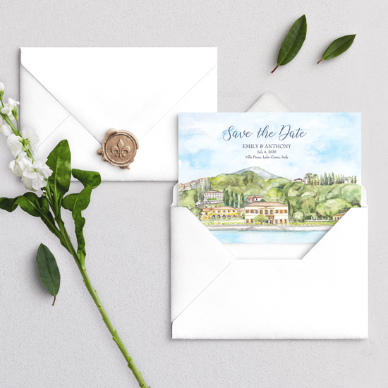 Villa Pizzo Lake Como Wedding Invitation