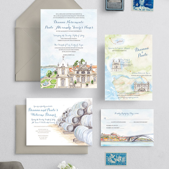 Palacio Do Freixo Portugal Wedding Invitation