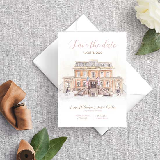 Union League of Philadelphia Wedding Invitation