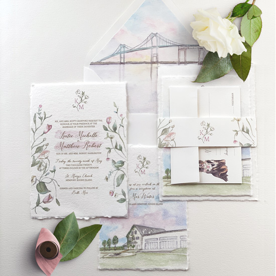 Handmade Paper Watercolor Wedding Invitation Suite at Belle Mer