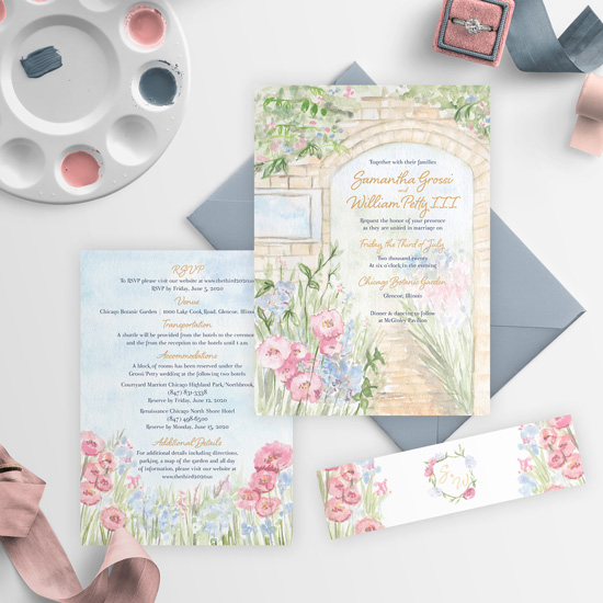 Chicago Botanic Gardens Artistic Wedding Invitation