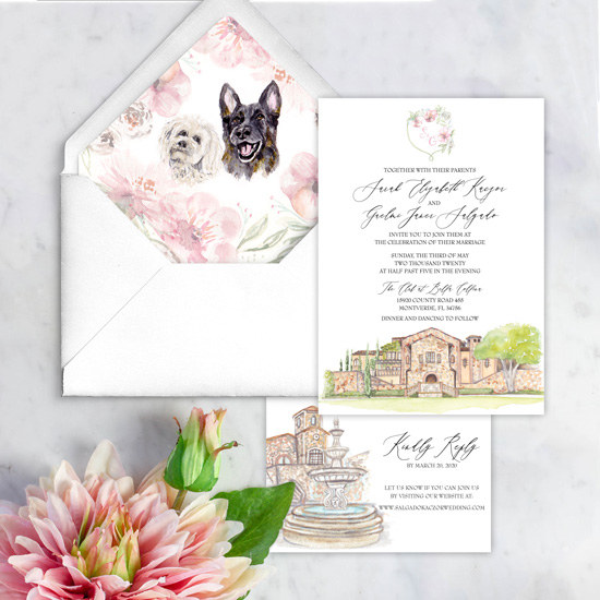 The Club at Bella Collina Watercolor Wedding Invitation