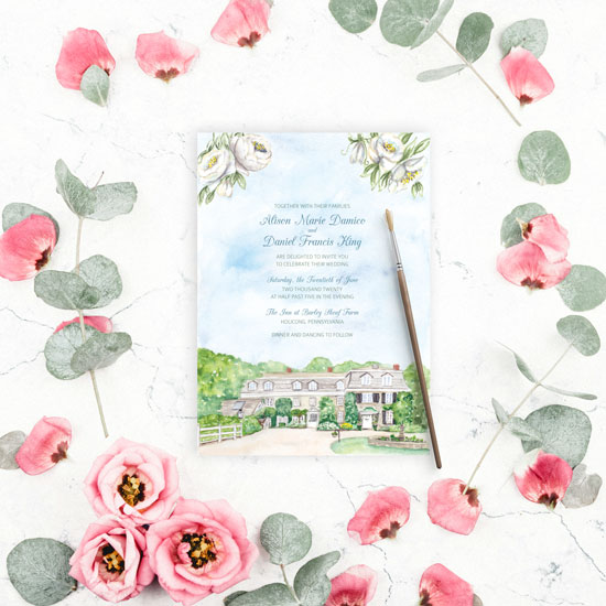 The Inn at Barley Sheaf Farm Wedding Invitation