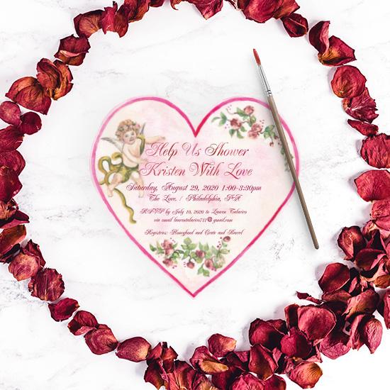Valentine's Day inspired Bridal shower invitation