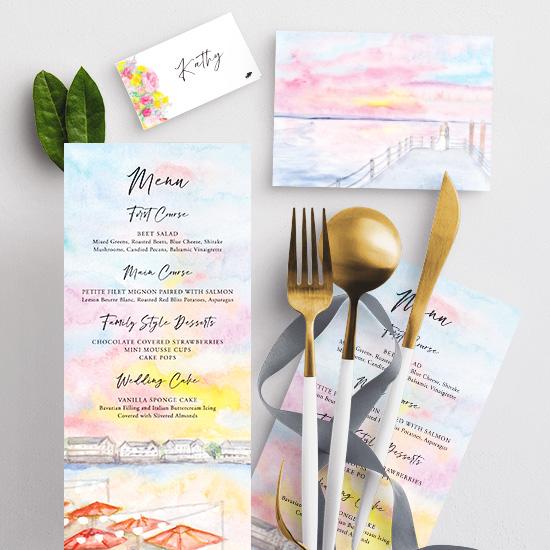 Watercolor menu at the Reeds in Stone Harbor