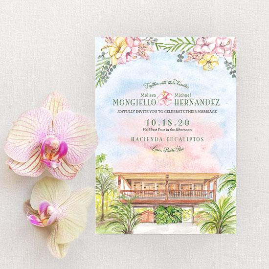 Hacienda Eucaliptos Wedding in Puerto Rico Invitation