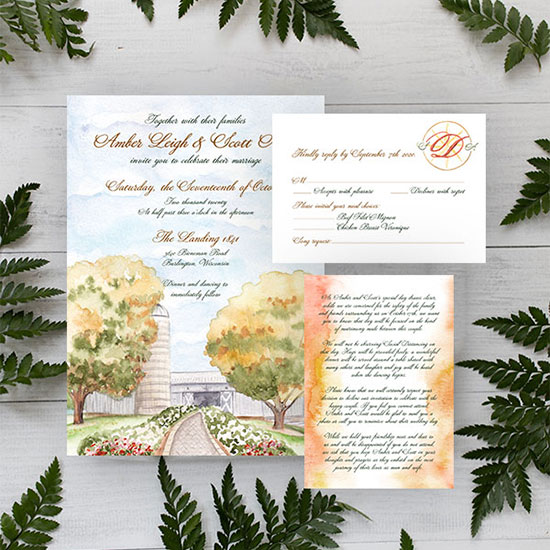 The Landing 1841 in Wisconsin Wedding Invitation