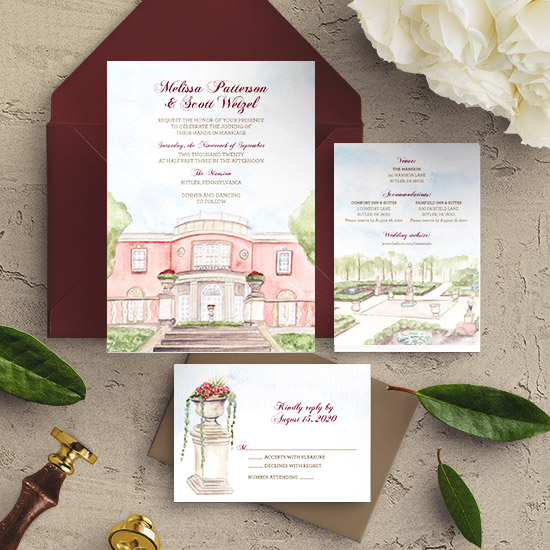 The Mansion in Butler, PA Custom Wedding Invitation