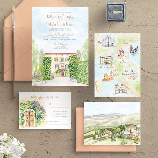 Villa Di Ulignano Tuscany Wedding Invitation