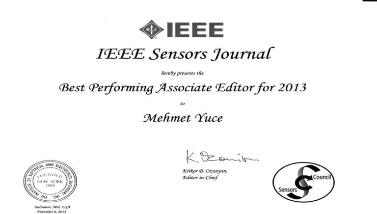 Best performing associate editor for IEEE Sensors Journal in 2013