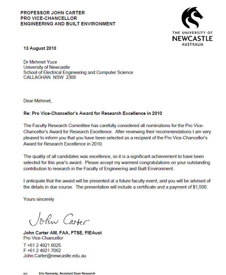 Research Excellence Award in Faculty of Engineering and Built Environment, University of Newcastle