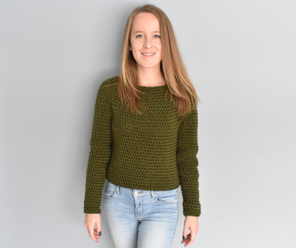 Beginner crochet sweater pattern circular yoke by Courtney Clark of Tinderbox