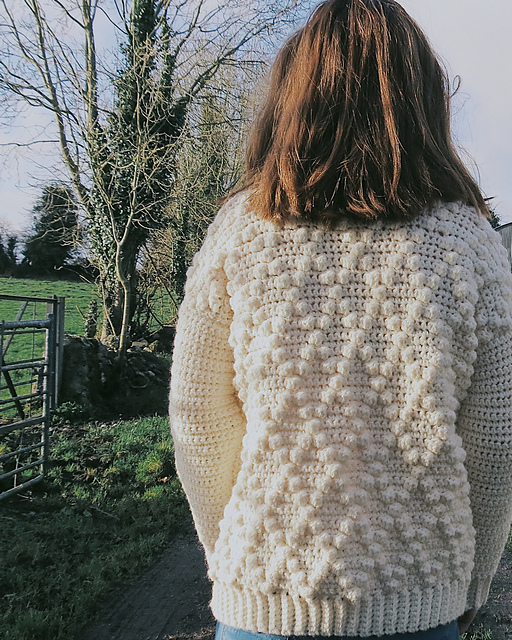 Crochet Diamond Bobble Sweater by Hey Carrie