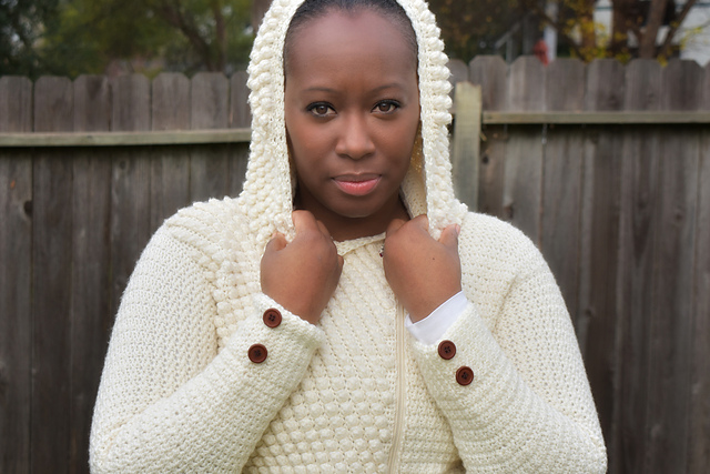 Crochet hooded pullover sweater