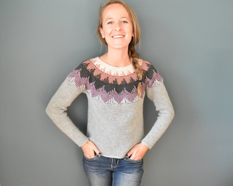 Crochet circle yoke sweater with color work