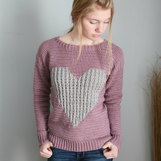 Cabled Heart Pullover Crochet Sweater Pattern by Sentry Box Designs
