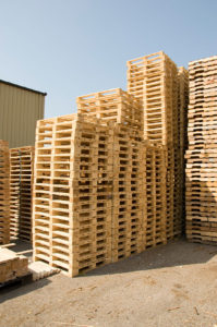 Wood pallets stacked outside