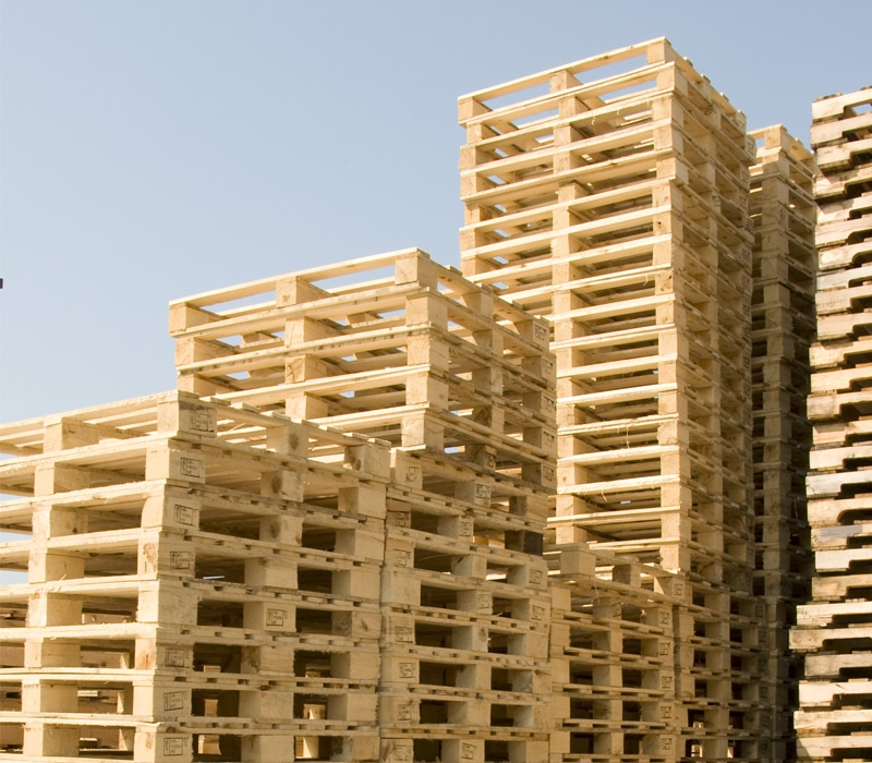 pallets neatly stacked outside