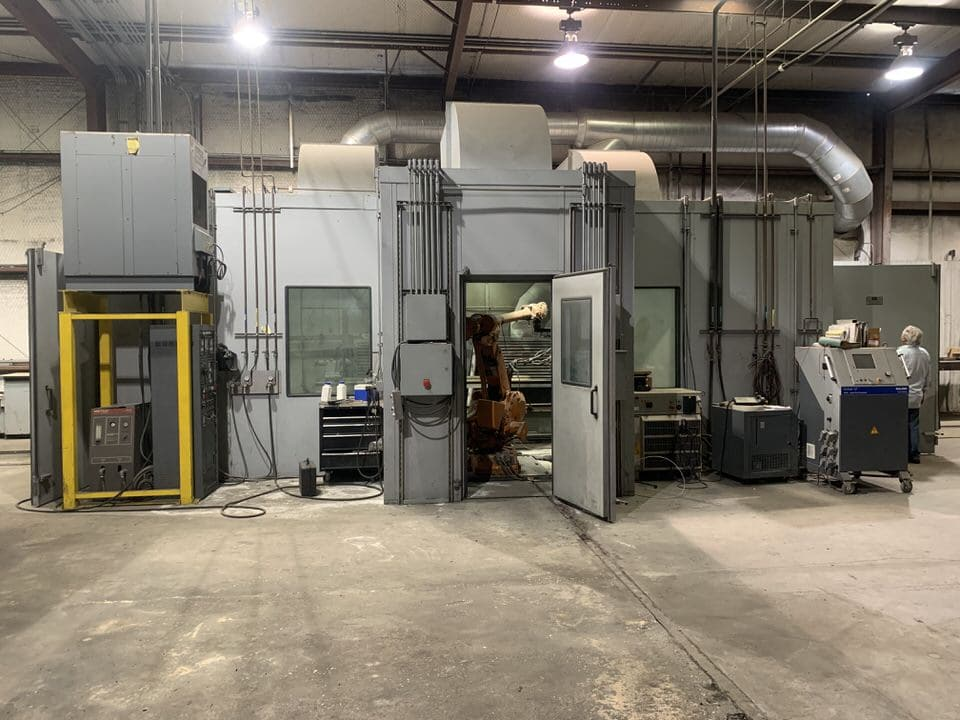 METAL SPRAY COATING BOOTH WITH SULZER AND METCO EQUPIMENT, ABB ROBOT, SOUND PROOF ENCLOSURE AND MULTIPLE FIXTURE AND ROTATION DEVICE