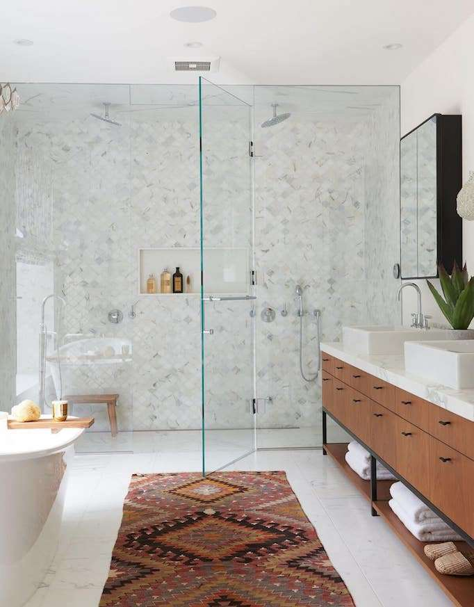 Bright Open Bathroom with Curbless Shower Design