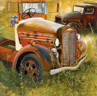 Old Mack Trucks - Oil on Canvas by William C. Turner