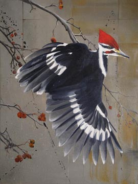 Pileated Woodpecker - Oil on Canvas by William C. Turner
