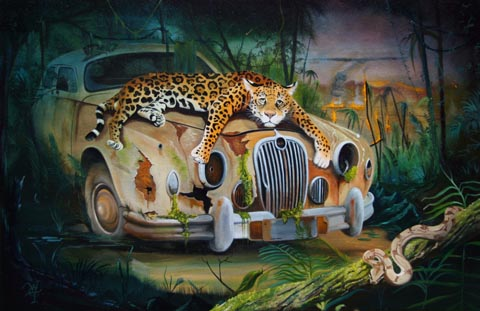 Plight of the Jaguar - Oil on Canvas by William C. Turner