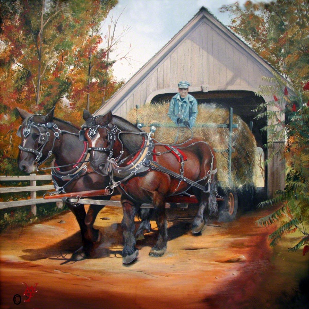 Woodstock Hayride - Oil on Canvas by William C. Turner