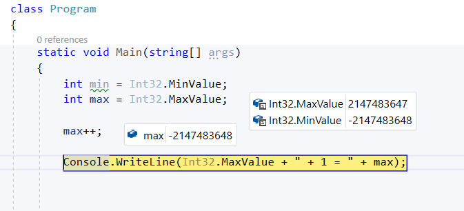 MaxValue + 1 = MinValue!