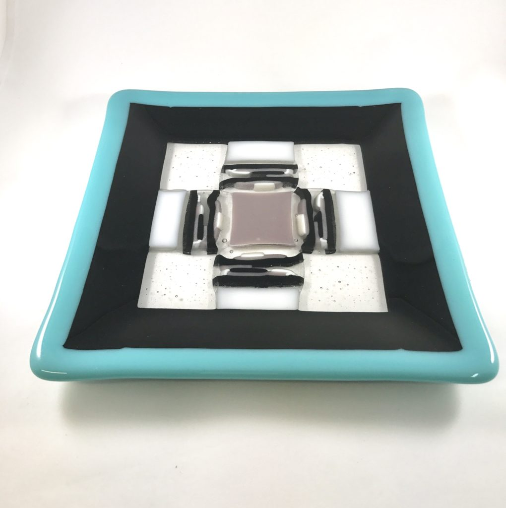 8x8'' aqua/black/mauve plate $35