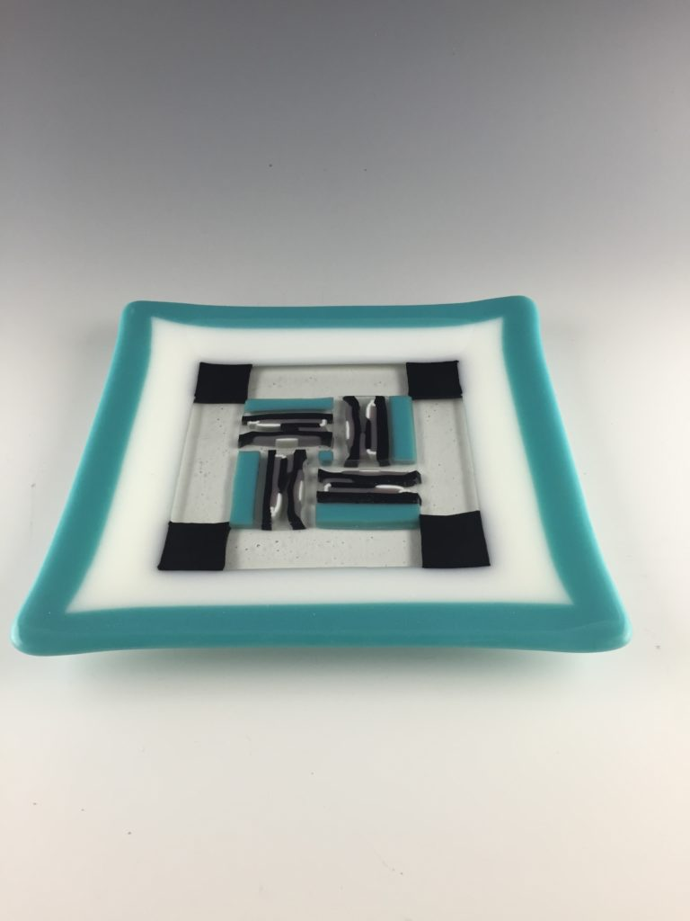 Black/aqua 8'' square plate SOLD