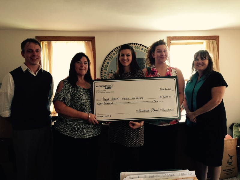 PAVE is awarded shelter grant from Merchants Bank Foundation