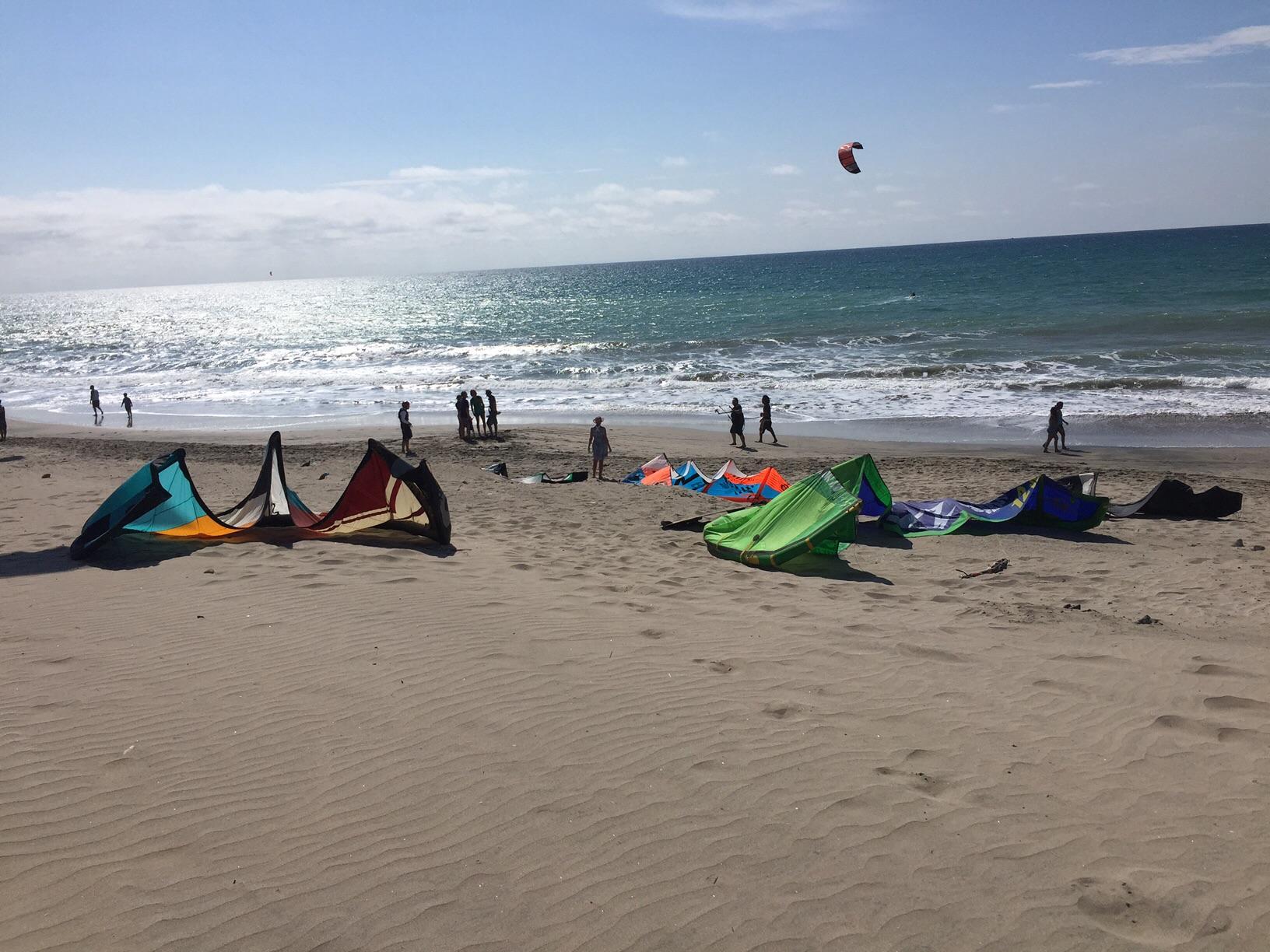 Kitesurfing on Santa Marianita beach, Ecuador