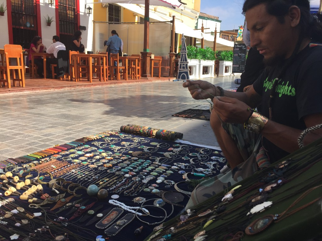 Peruvian artisan making jewelry in Iquique, Chile