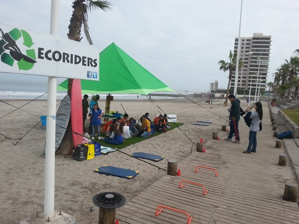 EcoRiders tent on beach in Iquique, Chile