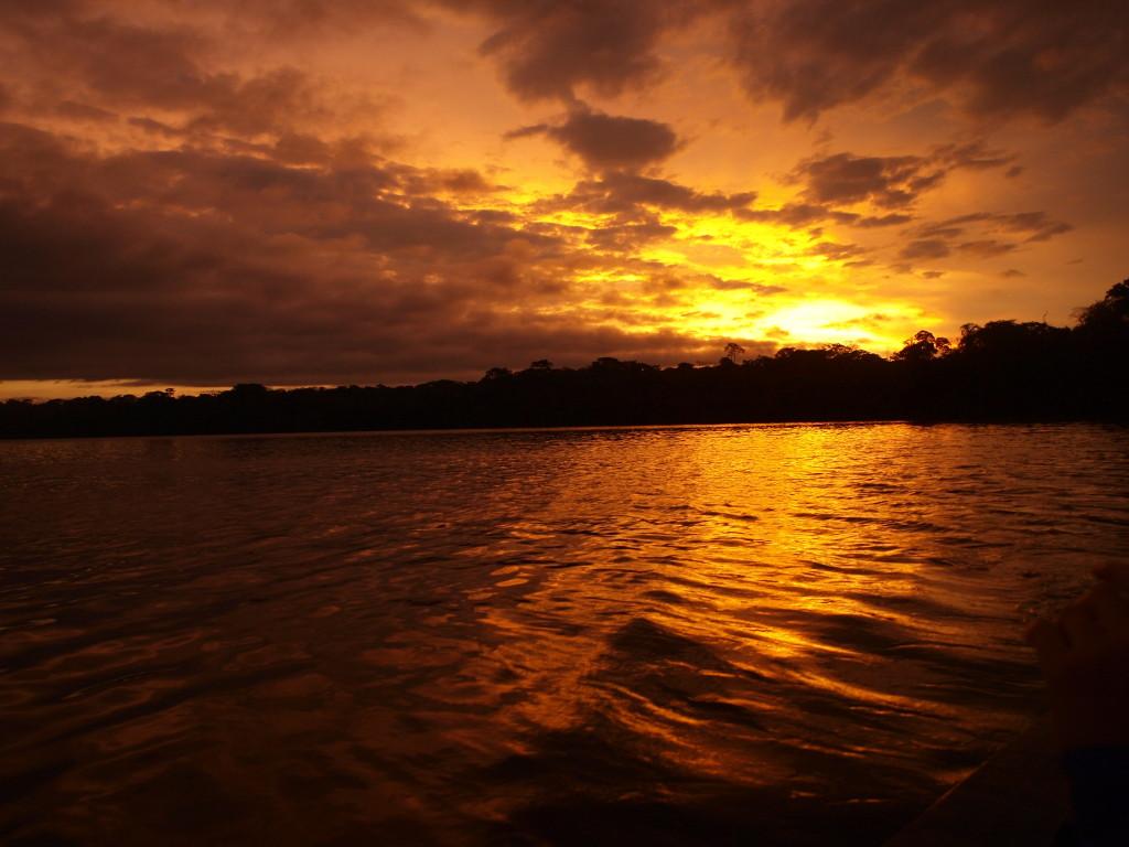 Sunset over Lake Sandoval, Puerto Maldonado, Peru