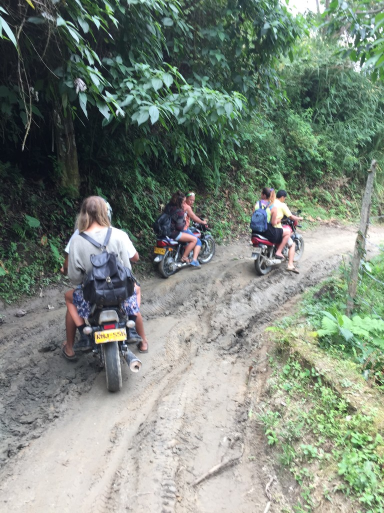 The only way up the muddy mountain to Casa Elemento, Minca is on a motorcycle