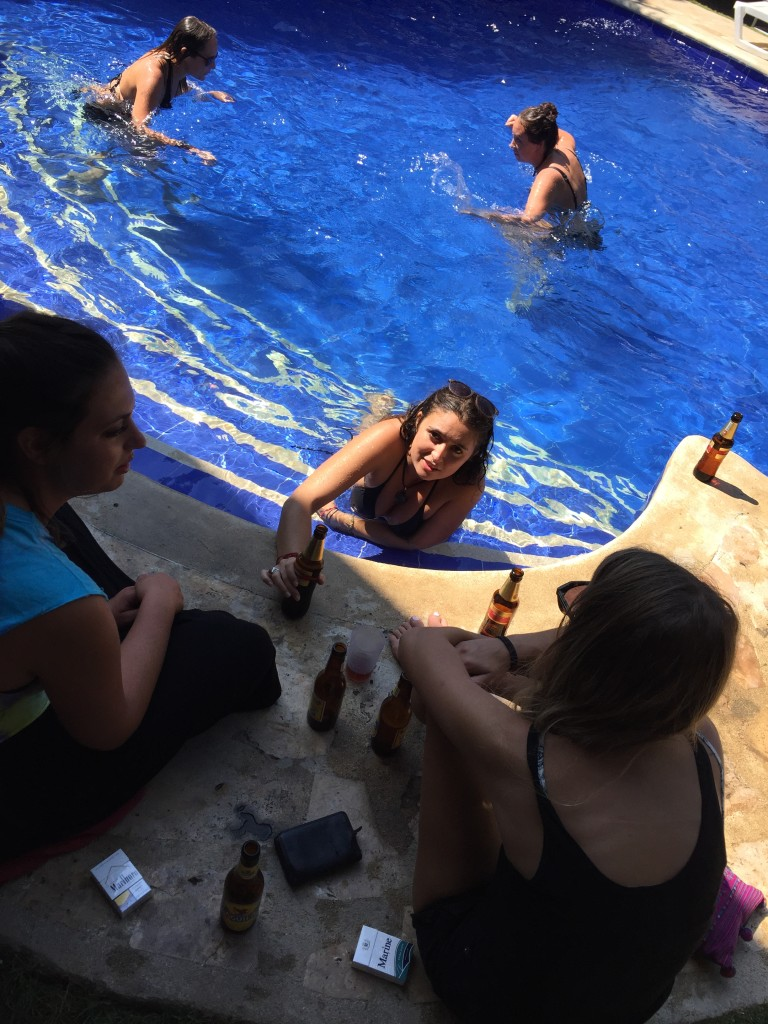 the morning after el mirador, going strong by the pool