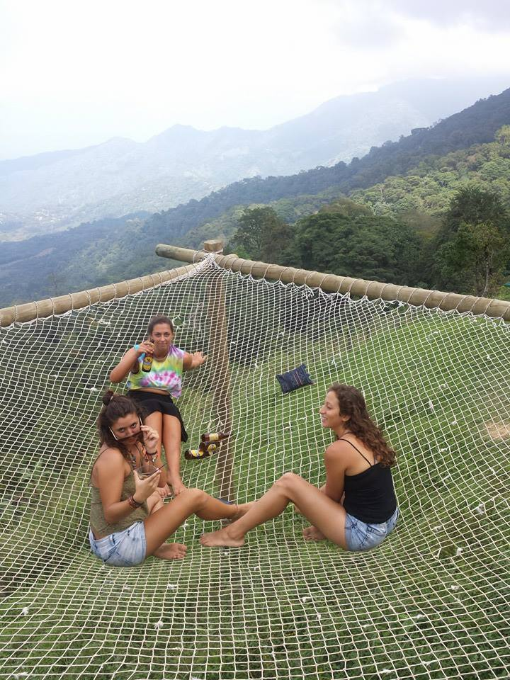 Relaxing on the giant hammock at Casa Elemento, Minca, Colombia