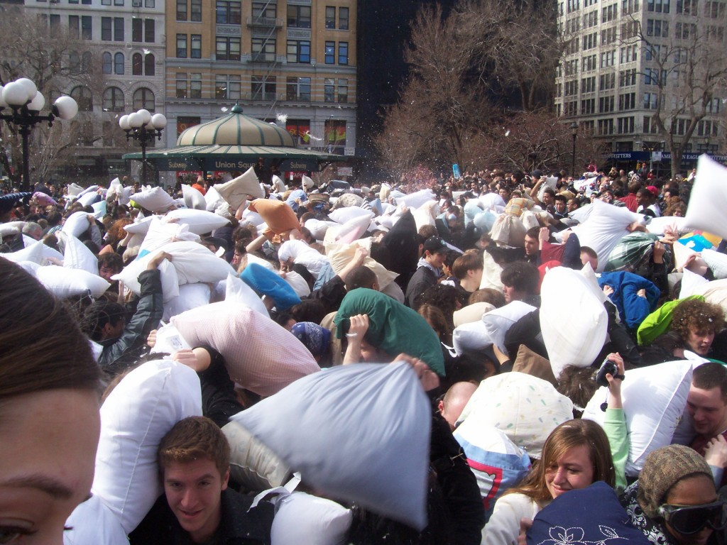 Improv Everywhere giant pillow fight in Union Square, New York City