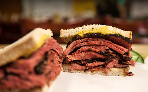 corned beef or pastrami sandwich, from Katz's Deli's website