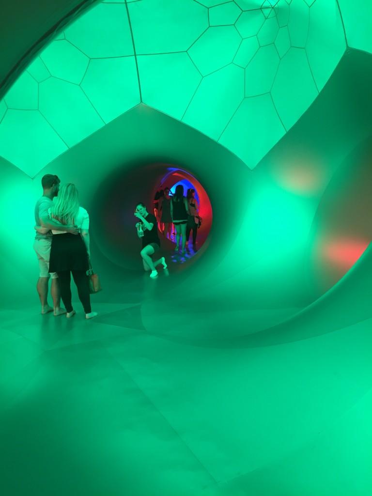 inside the green dome in PENTALUM luminarium