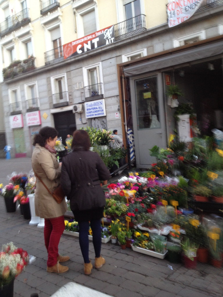 flower carts in Tirso de Molina, Madrid, Spain