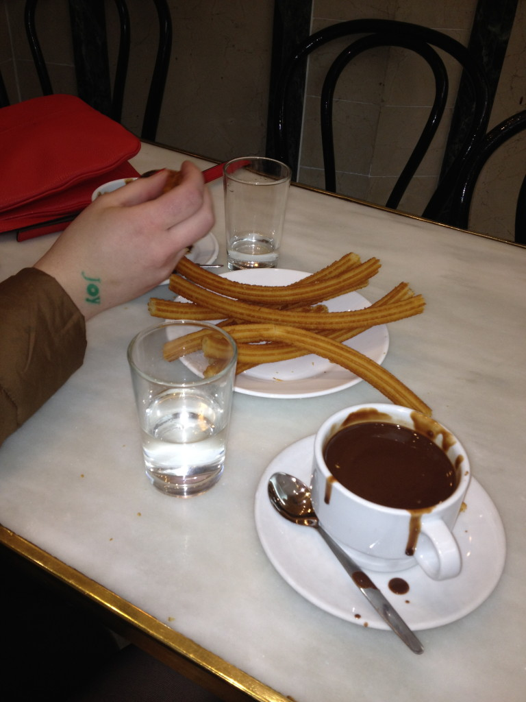 churros con chocolate, Chocolatería de San Gines, Madrid, Spain